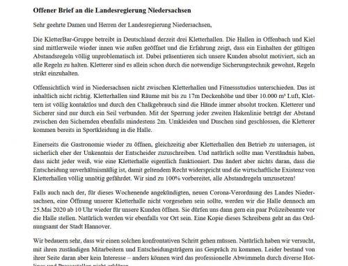 Offener Brief an die Landesregierung Niedersachsen
